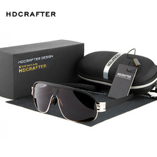 HDCRAFTER Men's High Quality Oversized Sunglasses Men Polarized UV400 Sports Goggle Sun Glasses with Case Gafas De Sol Hombre