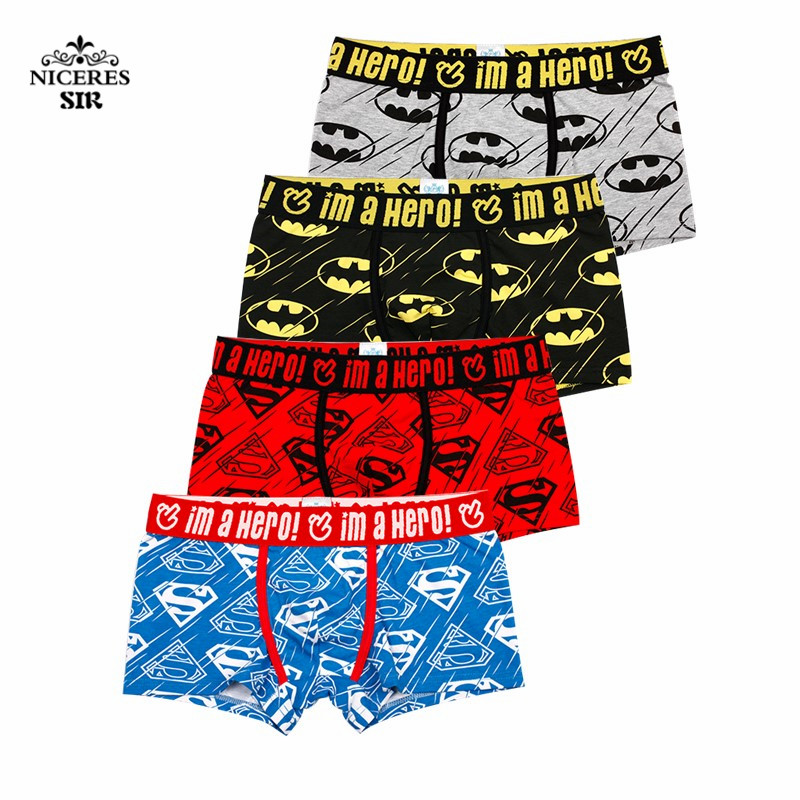 PINK HERO 4 PCS/lot  Men Underwear Boxers Sexy underpant Cotton Male Panties Shorts Cartoon Printing Superman Batman 1250