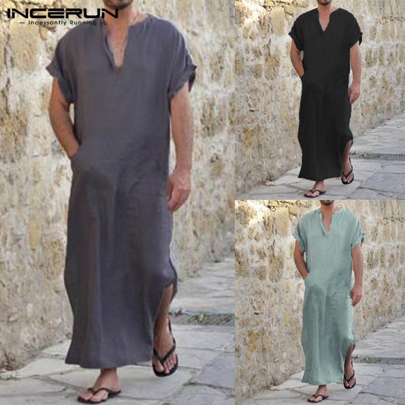 Incerun Full Length Short Sleeve Robes Men V-neck Solid Casual Loungewear Vintage Loose Islamic Arab Kaftan Pajamas S-5xl