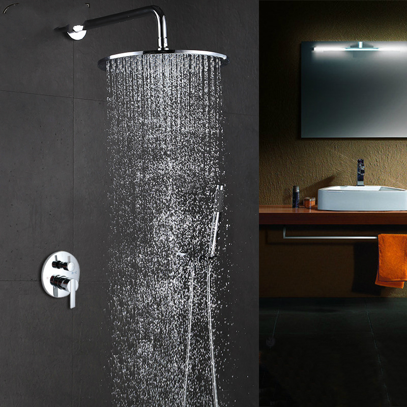 Robinet de douche dissimulé carré poli moderne en laiton argenté Chrome insert mural intégré boîte Booster ensemble de douche SF6