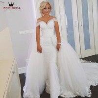 Индивидуальный заказ Съемная skirk Свадебные платья Русалка Тюль Кружево пикантные длинные свадебное платье халат De mariée Vestidos De Novia WS70