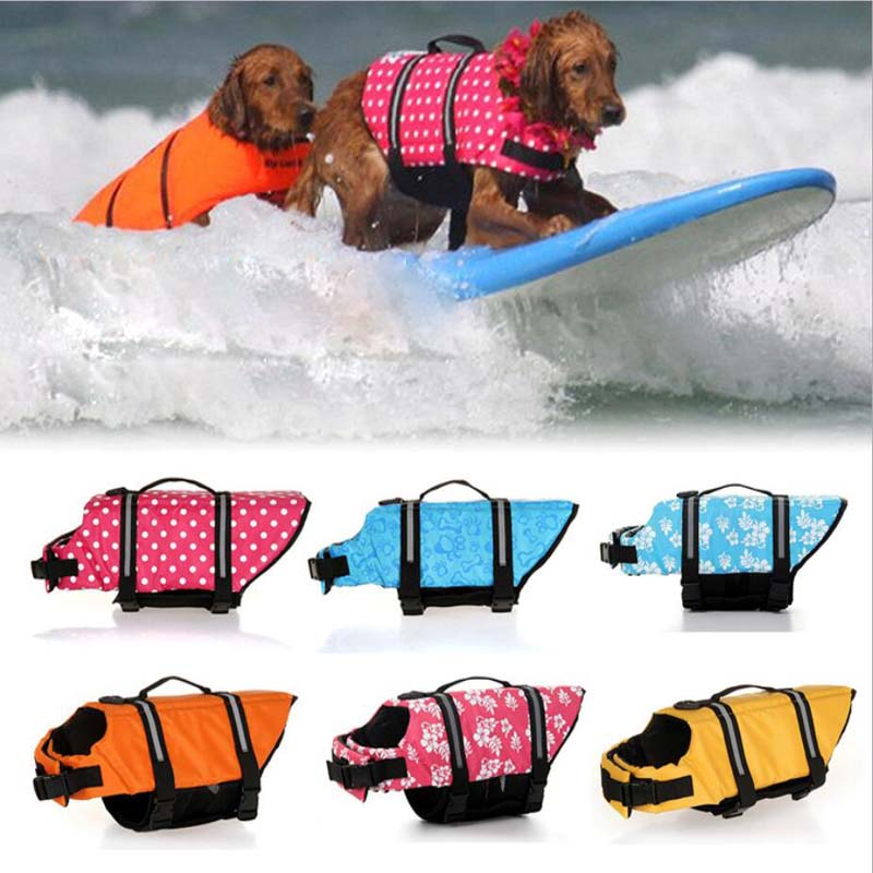 Dog Life Vest Summer Printed Pet Life Jacket Dog Safety Clothes Dogs Swimwear Pets Safety Swimming Suit Chaleco Salvavidas