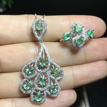 Qi Xuan_Fashion Jewelry_Colombia Green Stone Elegant Jewelry Set_S925 Solid Silver Set_Factory Directly Sales