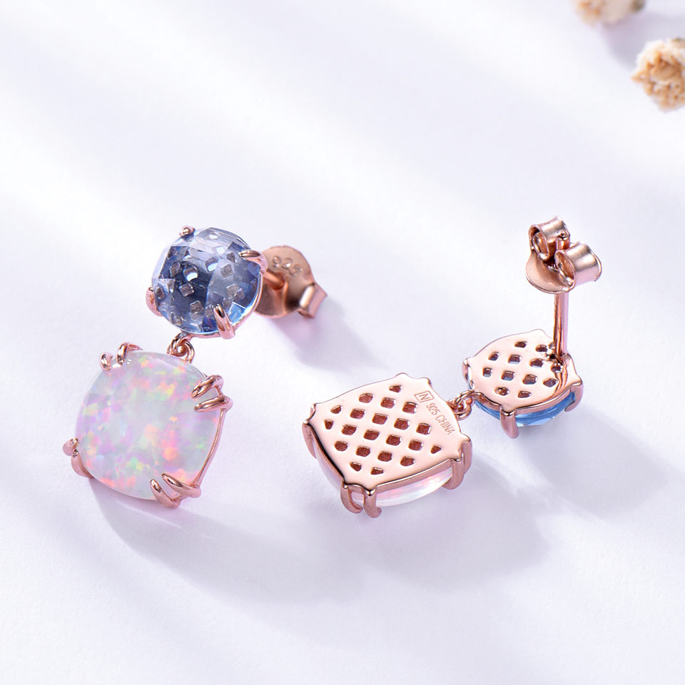 UMCHO 925 ստերլինգ արծաթագույն օպալ Stud - Նուրբ զարդեր - Լուսանկար 4