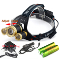 New 3xCREE XM-L T6 Zoomable LED Headlight 10000Lumens 4 Modes Headlamp Rechargeable Head Torch Flashlight +18650 Battery charger