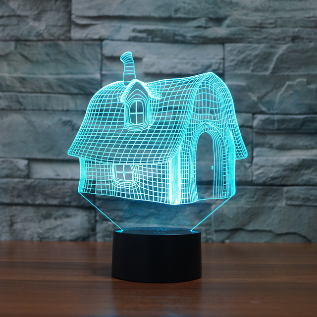 7 Color Holiday Atmosphere Decorative Full House Lighting USB Gadget LED Night Light 3D Ilusion Table Decoration Mood Light