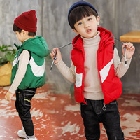 Boys 2 8 Years Sleeveless Hooded Casual Cardigan Vest Fashion Curve Pattern Zipper Closure Warm Cottoned Winter Autumn Vests