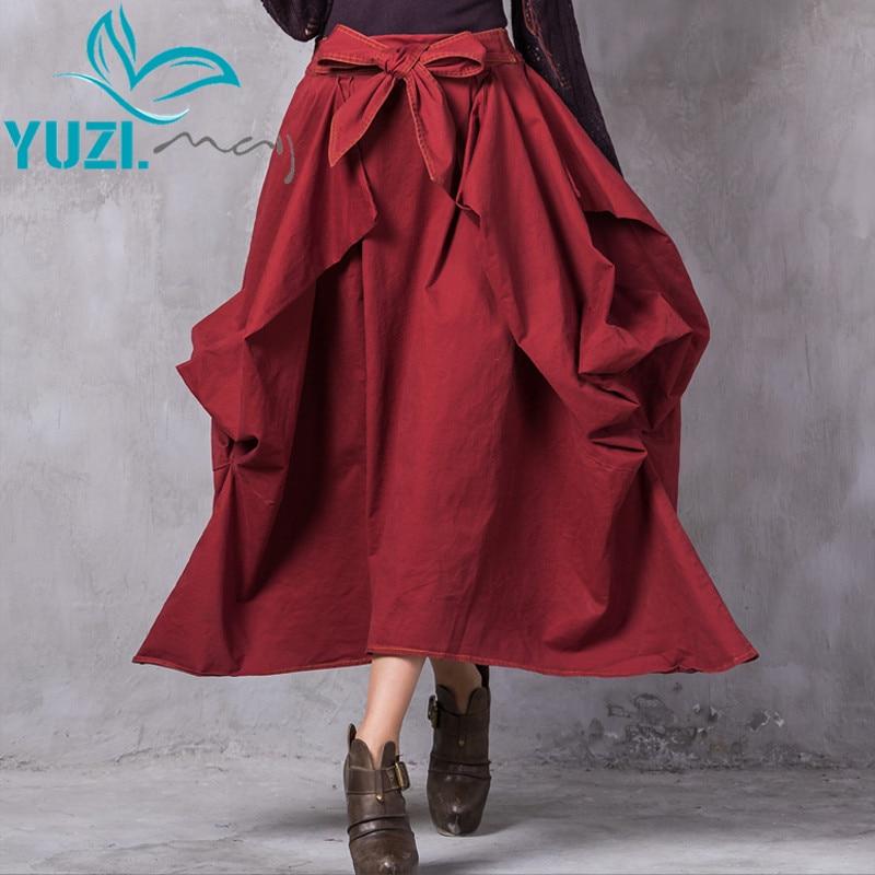 Skirts Womens 2017 Yuzi may Boho New Cotton Saia Asymmetrical Solid All match Elegant Swing Hem