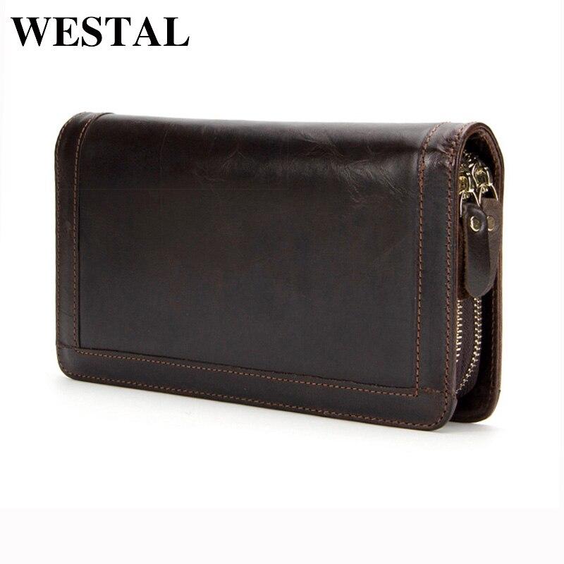 WESTAL Genuine Leather Men Wallets Double Zipper Male Wallet Men Purse Fashion Male Long Phone Wallet