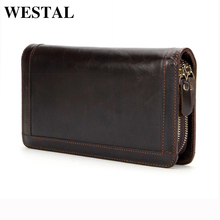 WESTAL Genuine Leather Men Wallets Double Zipper Male Wallet Men Purse Fashion Male Long Phone Wallet Man's Clutch Bags 9013