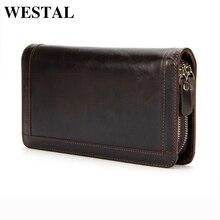 WESTAL Genuine Leather Men Wallets Double Zipper Man Wallet Men Purse Fashion Male Long Phone Wallet Man's Clutch Bags 9013