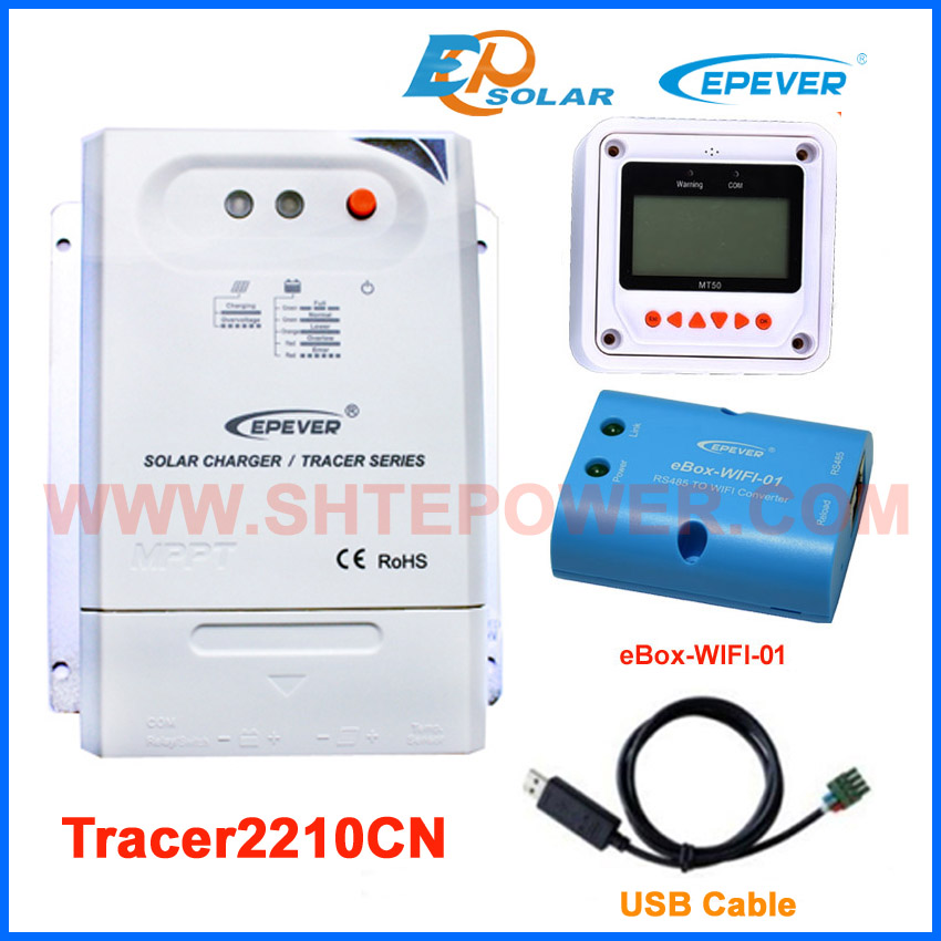 Solar panels 12V 260W household system MPPT EPEVER Solar Controller 20A Tracer2210CN wifi BOX USB cable communication MT50 epever mppt tracer2210cn 20a 20amp solar panel system controller with wifi box regulator usb cable mt50 remote meter