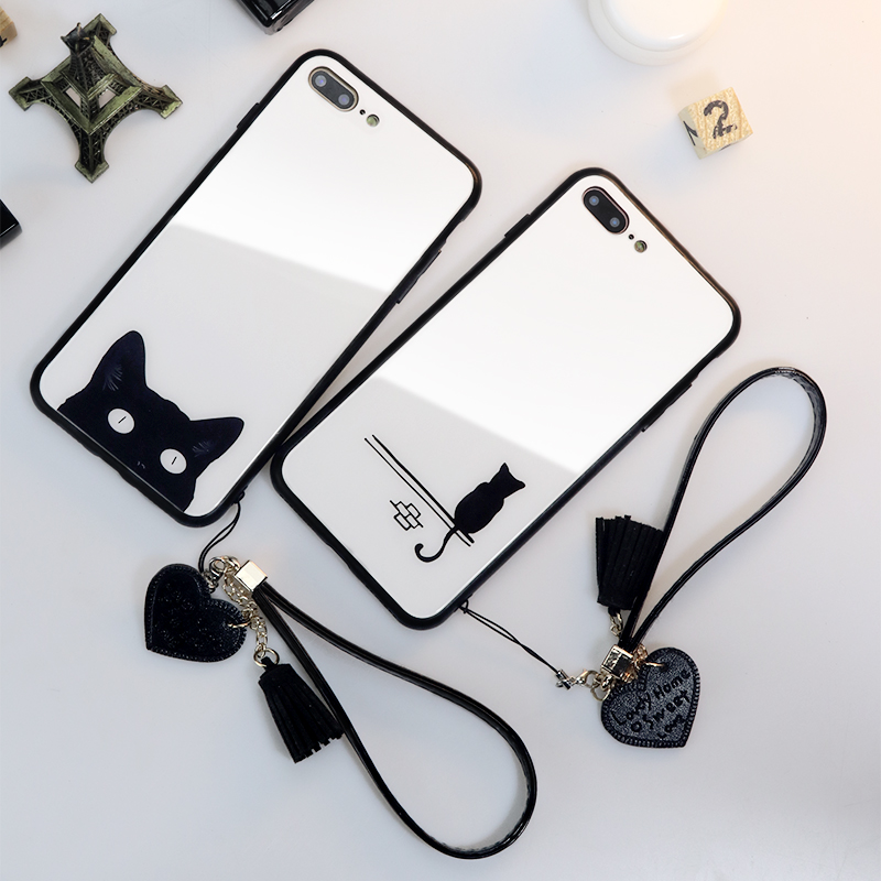 BONVAN Tempered Glass Hard <font><b>Case</b></font> For <font><b>iPhone</b></font> X XR XS Max Cover For <font><b>iPhone</b></font> 6 6S 7 <font><b>8</b></font> Plus <font><b>Cat</b></font> Love Heart Tassel lanyard phone <font><b>Cases</b></font> image