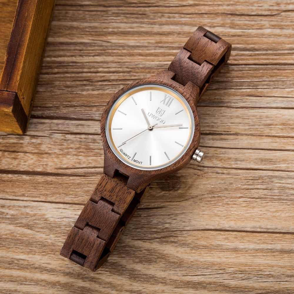 Reloj de pulsera de cuarzo de madera de marca superior de lujo UWOOD para mujer