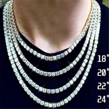 Hip Hop 1 Row Tennis Chain AAA CZ Stone 3/4/5 MM Bling Iced Out Gold Silver Cubic Zircon Necklaces For Men Jewelry