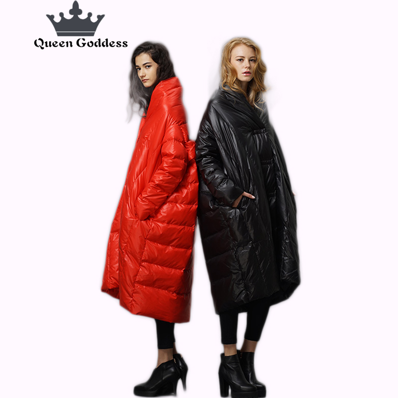Fashion Casual Loose&Plus size down jacket Long&thickening parkas 90% national standard white duck down outwear cocoon coat