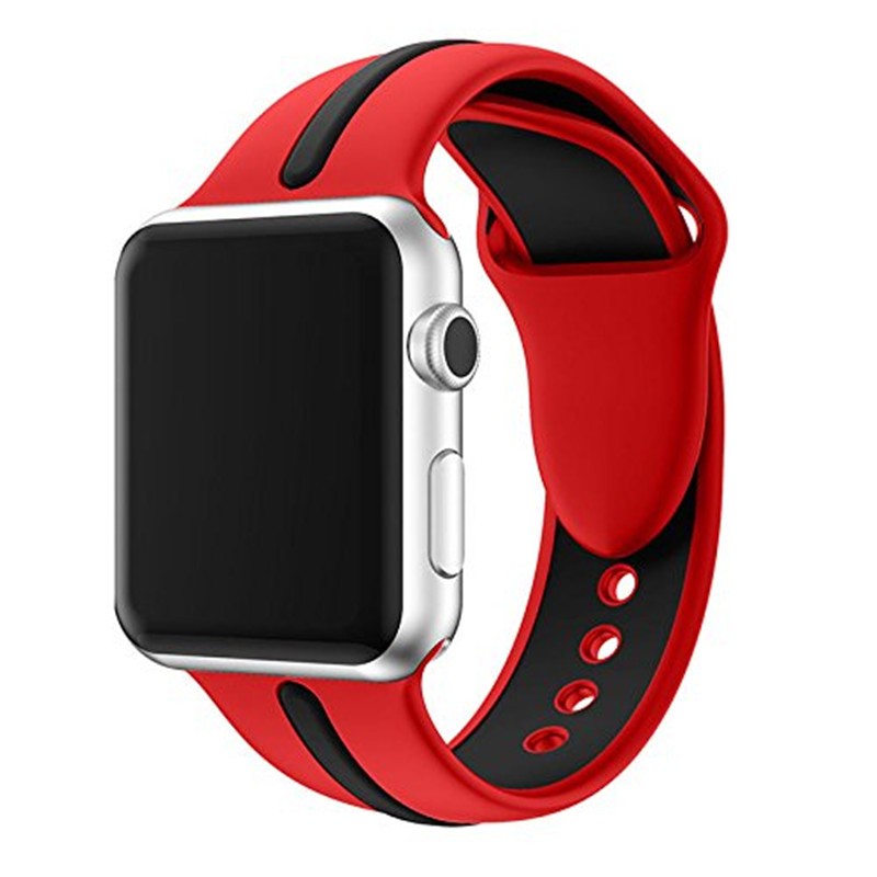Sport Band for Apple Watch 42mm Soft Silicone Strap Series 3 Watchband Replacement Wrist Strap for iWatch 38mm Bands Series 1/2