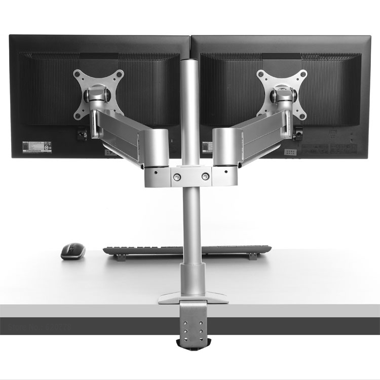 Dsupport M200 Desktop Dual Monitor Holder Support Aluminum Full Motion 15-30 inch Monitor Mount Arm with 40cm Stand Pole dsupport aluminum alloy notebook stand holder for 10 15 inch laptop monitor within 27 inch dual arm universal rotation stands