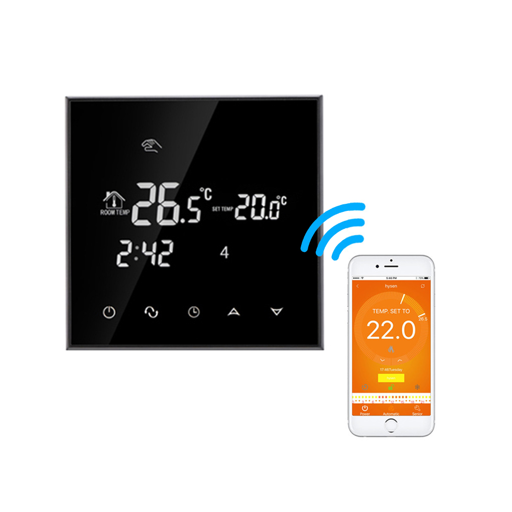 AC200~240V Smart Wifi Thermostat Energy Saving Thermostat Programmable Temperature Controller LCD Display Touchscreen Thermostat comfast full gigabit core gateway ac gateway controller mt7621 wifi project manager with 4 1000mbps wan lan port 880mhz cf ac200