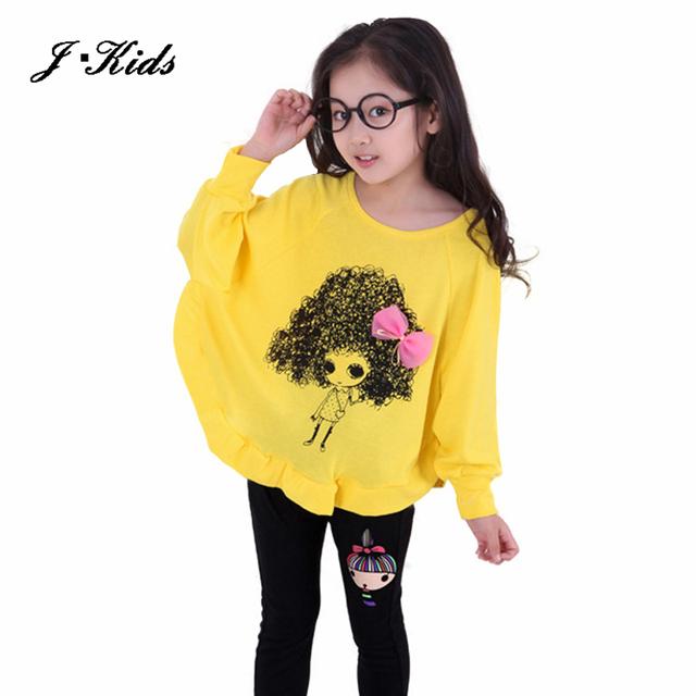 2016 Novo 3-10 T primavera e outono conjuntos de roupas crianças moda algodão longo-manga morcego T-shirt + legging preta 2 pedaço define meninas