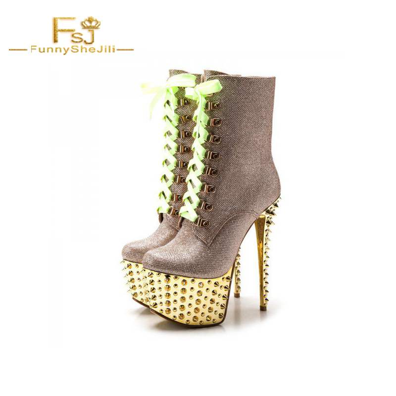 4d944096db4 Gold and Champagne Rivets Stripper Shoes Platform Lace Up Boots Mid-calf  Woman Boot Cross-tied Rivet Fashion Sexy FSJ