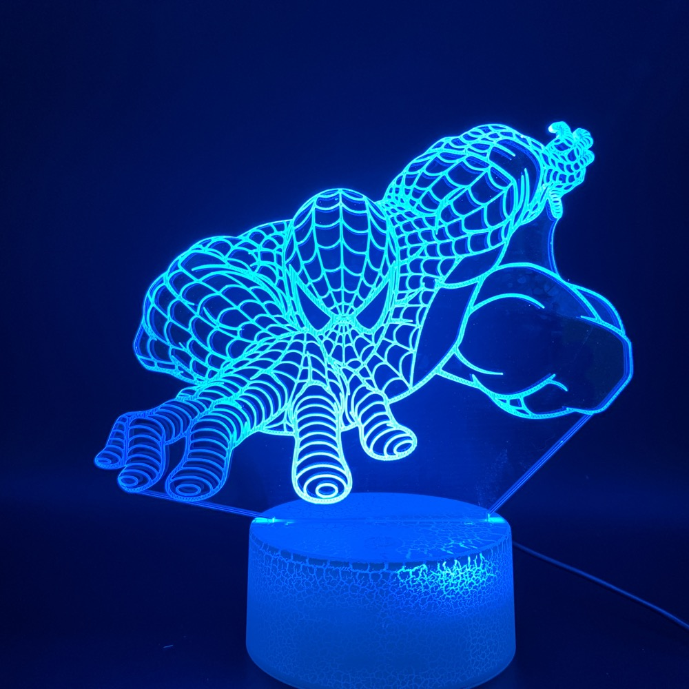 3D Led Night Light Lamp Marvel Spiderman Home Decoration Luminaria Gift for Kids Child Bedroom Nightlight Superhero Spider Man in LED Night Lights from Lights Lighting