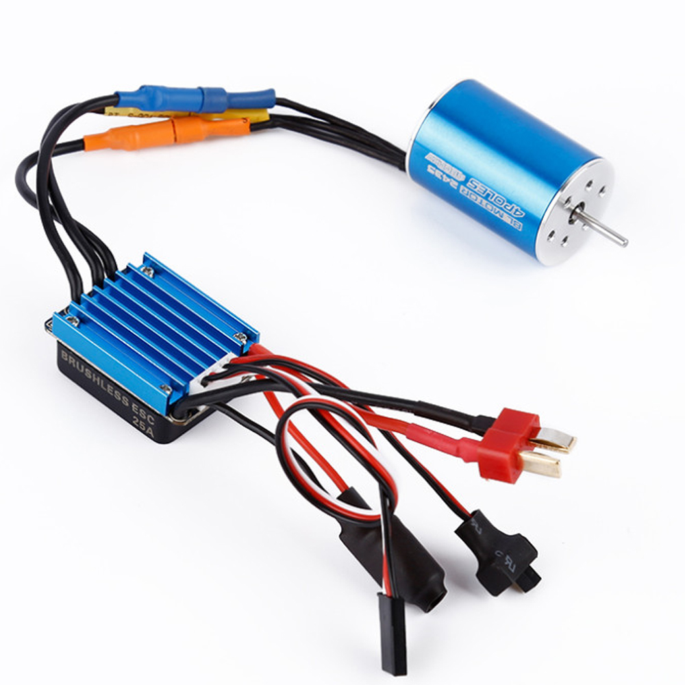 1 set RC Car Model Parts 2435 4800KV 4P Sensorless Brushless Motor with 25A Brushless ESC for 1/16 1/18 RC Car Off Road Truck 3650 3900kv 4p sensorless brushless motor 60a brushless elec speed controller esc w 5 8v 3a switch mode bec for 1 10 rc car