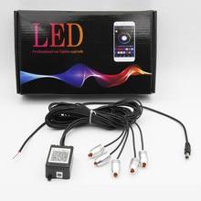 6m Sound Active RGB LED Car Interior Light Multicolor EL Neon Strip Bluetooth Phone APP Control Atmosphere 12V