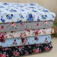 Combed Cotton Small Rose Bush Colored Cotton Cloth Shirt Fabric Handmade DIY Fabric Flowers Free Shipping