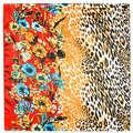 60*60 cm Marca de Moda Femenina Sexy Leopardo Bufanda, Mujeres Flores de Raso Diseño Big Square Poliéster Bufanda de Seda chal Para Ladie A014