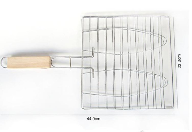 1pcs BBQ Barbecue 2 Fish Grilling Basket Roast Folder Tool with Wooden Handle