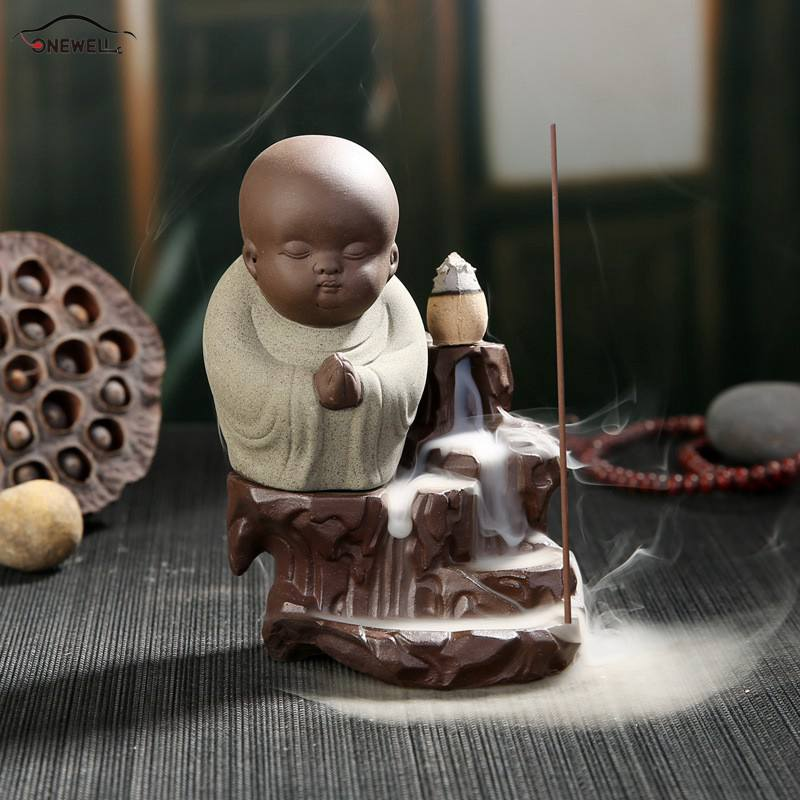 ONEWELL Creative Home Decor The Little Monk Small Buddha Censer Back Flow Incense Burner f