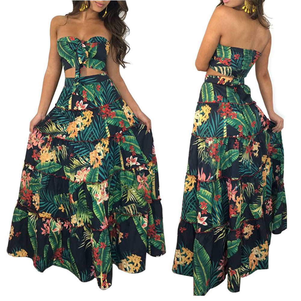 Summer women sexy beach suit 2 piece set tube top / long skirt wood ear 3D printing leaves flowers floral Bohemia full set