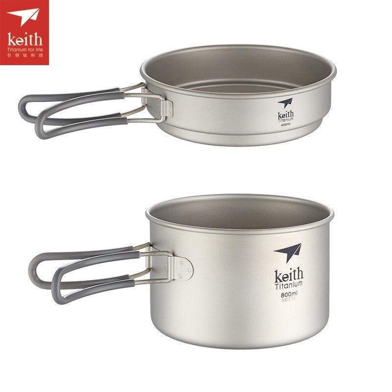 Keith 400 ml-1250 ml camping titanium pot establece olla ollas y sartenes utensi