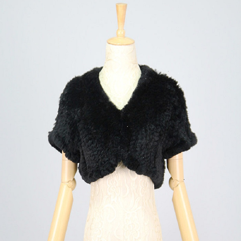 QIUCHEN 44 Free Shipping Solid Short Women Genuine Knitted Rabbit Fur Vest Natural Real Fur Coat