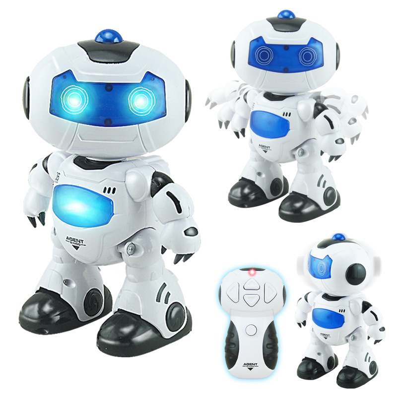 New Mini RC Robot Toy font b Musical b font Dancing Lighting Walking Roating RC Robot