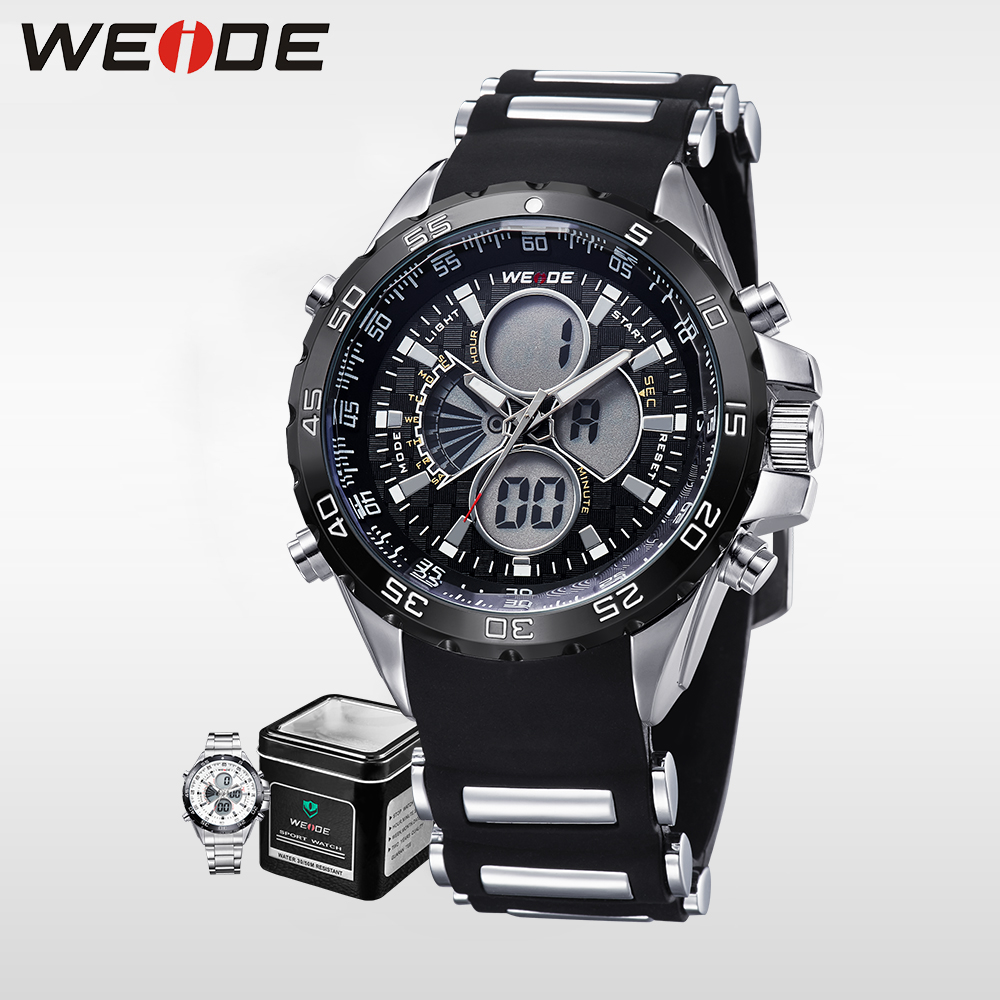 WEIDE Luxury Brand Military Sports Watch for Men Black Waterproof Digital LCD Analog Quartz Watch Silicone Strap Wristwatches weide luxury brand men sports watch multiple time zone back light blue black fashion casual wristwatches hot clock wh5203