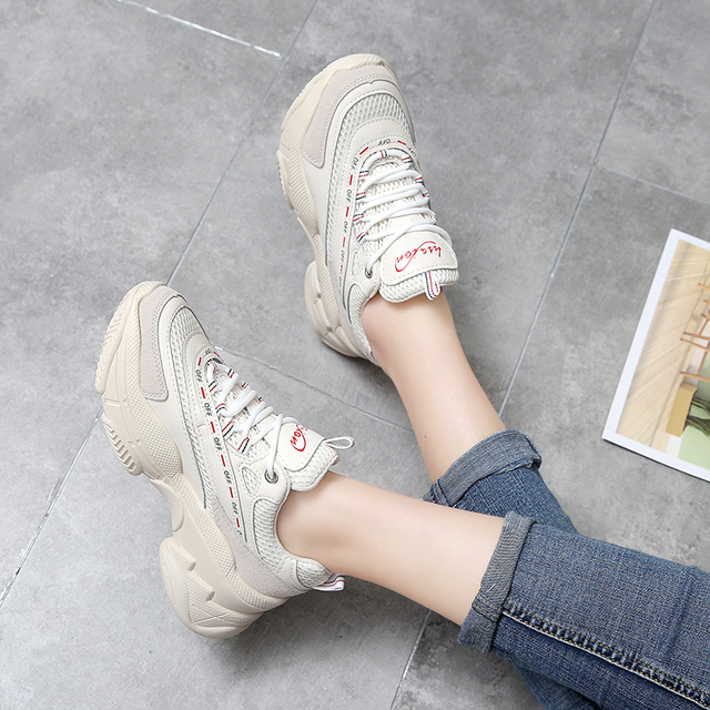 FEOZYZ 2019 New Chunky Sneakers Women Mesh Breathable Running Shoes Woman Thick Sole Dad Shoes Zapatillas Mujer Deportiva 1