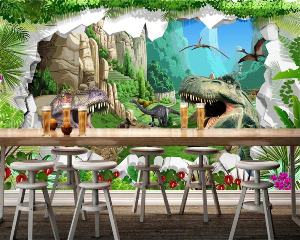 beibehang Custom large 3D wallpaper retro dinosaur era 3D stereo TV sofa restaurant background wall 3d wallpaper papel contact