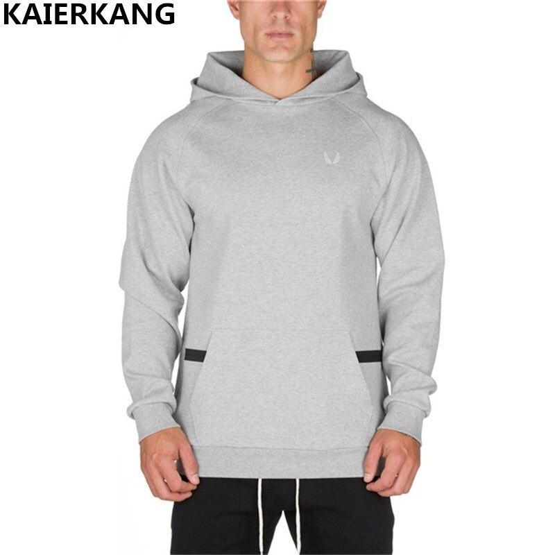 2018 new Men Hooded sweatshirt Autumn Winter workout Fitness Hoodies Cotton Brand clothing Zip pocket men Hoodies Sweatshirts