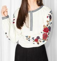 WISHBOP NEW 2017 Spring Autumn Fashion White Shirt Round Neck Long Puff  sleeved with Flowers Embroidery 08927cb45e9d