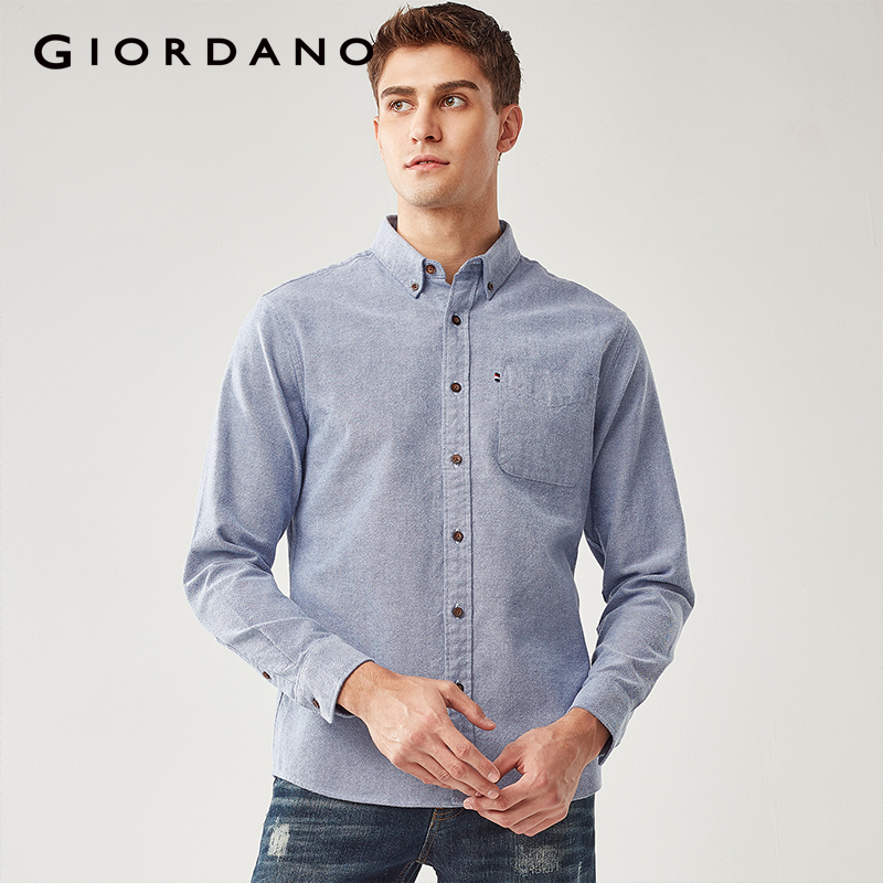 Giordano Men Shirt Men Thick Cotton Camisa Masculina Single Pocket At Chest Long sleeve Shirts Quality Thicken Camiseta-in Casual Shirts from Men's Clothing
