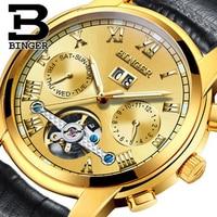 Genuine Switzerland BINGER Brand Men automatic mechanical self wind movement sapphire gold watches waterproof hollow Tourbillon