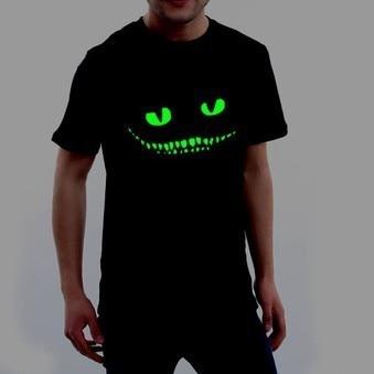 Mr.Kooky Black Noctilucent Print Dark Devil Cheshire Cat Night Light Short Sleeve Men's Women's Novelty Funny Luminous T-shirt 1
