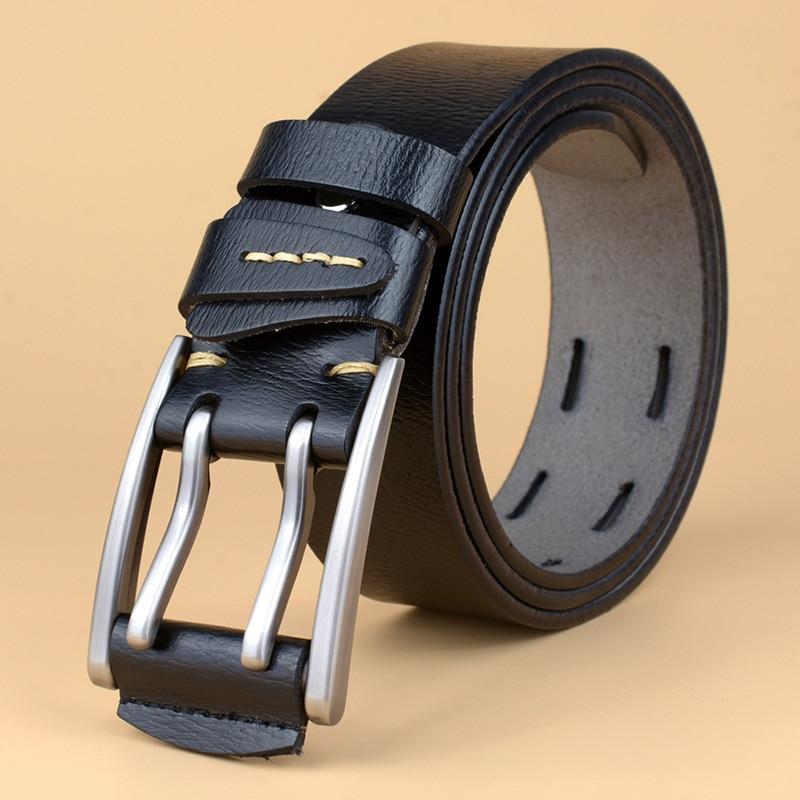 GEERSIDAN 2018 Designer high quanliy genuine leather belt for men Vintage brand mens belt double pin buckle belts for jeans