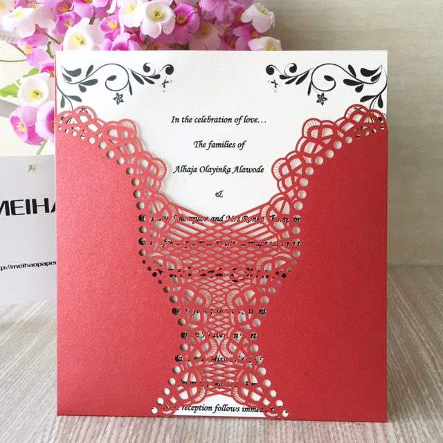50pcs Lot Laser Cut Wedding Invitation Card For Decoration Flower Carved Dark Purple Chinese Red Bright Royal Blue 21 Colors