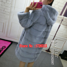 Natural furry mink long hat with a jacket, warm women coat can be customized models