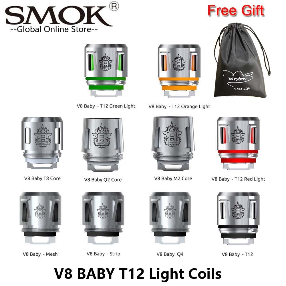 Original SMOK TFV8 Baby Coil Head V8 Baby T12 Red Light T8 T6 X4 Q2 M2 Mesh For X-PRIV Mag Baby Kit TFV12 Baby Prince Atomizer