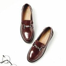 Женские туфли оксфорды с металлической пряжкой, лакированные кожаные мокасины на плоской подошве, повседневные лоферы на толстой мягкой подошве для девушек, 2019