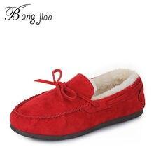 ce2f33fe2b3 Women Shoes Ballet Flats Winter Plush Shoes PU Leather Driving Shoes Woman  Bowtie Fur Loafers Women s